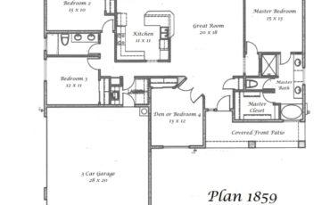 Plan 1859 - 4 bedrooms or 3 bedrooms with a den, 3 car side garage