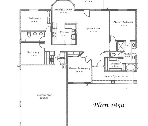 Plan 1859 - 4 bedrooms or 3 bedrooms with a den, 3 car side garage