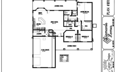 Plan 1895 - 3 bedroom, 3 car side garage