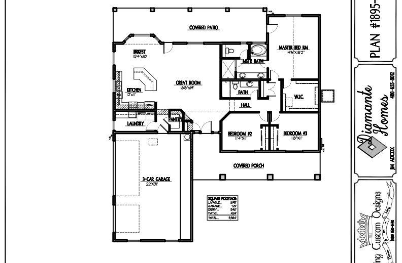 Plan 1895 - 3 bedroom, 3 car side garage