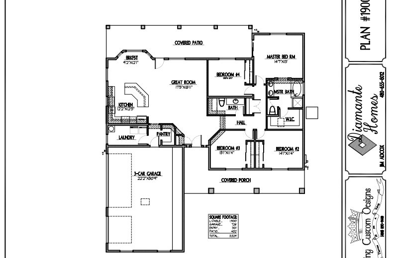 Plan 1900 - 4 bedroom, 3 car side garage