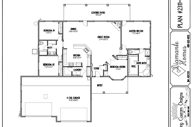 Plan 2311 - 4 bedrooms or 3 bedrooms,  4 car front garage