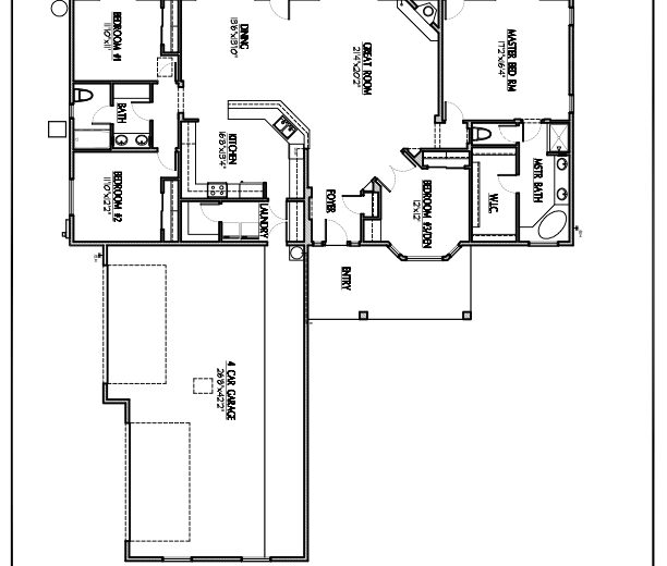 Plan 2311 - 4 bedrooms or 3 bedrooms with a den, 4 car side garage