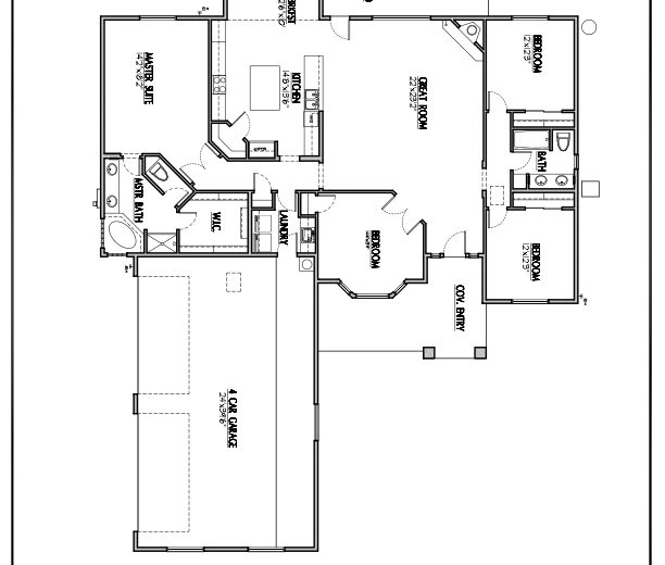 Plan 2331 - 4 bedroom, 4 car side garage