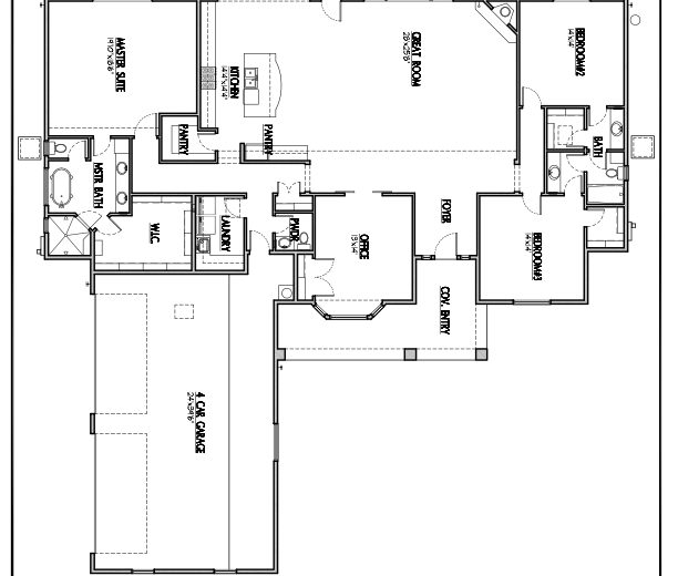 Plan 3025 - 3 bedroom, 4 car garage
